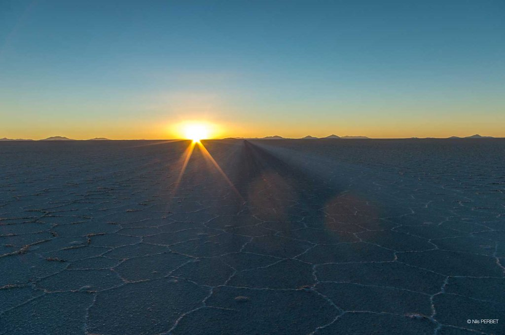 Sunset on the Salar de Uyuni